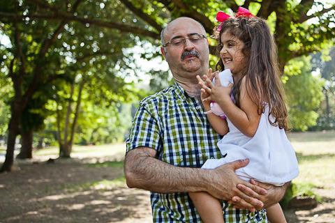 Foto di famiglia papa con figlia