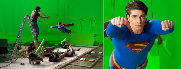 Superman effetto green screen backstage del film