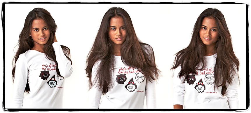 Fotografie abbigliamento e-commerce su sfondo bianco con modella