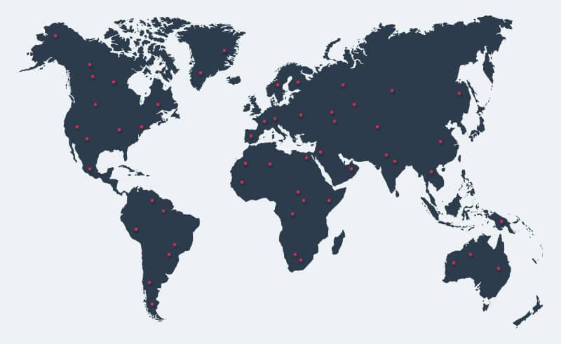 Servizi Fotografici Clienti Internazionali Mappa Mondo